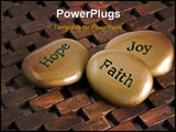 PowerPoint Template - Gold inspiration stones. Etched with the words Hope Faith: and Joy.