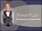 PowerPoint Template - Smiling cocktail waitress in warm rose and burgund