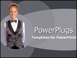 PowerPoint Template - Smiling cocktail waitress in blue and gray