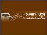 PowerPoint Template - White porcelain cup of black coffee on chocolate b