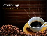 PowerPoint Template - Hot coffee on bamboo mat and space for your text