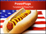 PowerPoint Template - A hot dog sits on an American flag napkin.