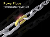 PowerPoint Template - 3D render of a chain with golden link.
