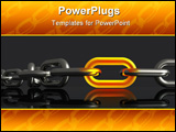 PowerPoint Template - d illustration of a close-up view of a heavy-duty chrome chain with one glowing orange link on a me