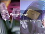 PowerPoint Template - Three lan cables with a cell phone in purple and violet background colors