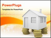 PowerPoint Template - iconic house with pillars made of coins as concept for real state investment