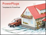 PowerPoint Template - Miniature House and Money. Buying house concept