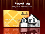 PowerPoint Template - d illustration of a large gold credit card standing behind a white two story house on dark red refl