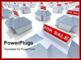 PowerPoint Template - The real estate crisis . 3D rendered illustration .