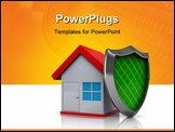 PowerPoint Template - 3d illustration of house protected by shield over white background