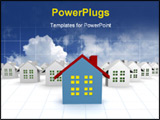 PowerPoint Template - blue outstanding 3d houses with sky and cloud background