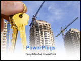 PowerPoint Template - real estate concept. gold keys in fingers with houses