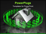 PowerPoint Template - 3d illustration of a simple house with glowing transparent green dollar symbols orbiting around it