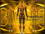 PowerPoint Template - Digital illustration of Human body in color background