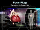 PowerPoint Template - Digital illustration of human body and heart in colour background