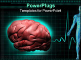 PowerPoint Template - Digital illustration of a human brain in black colour