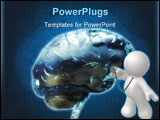 PowerPoint Template - Color 3D front view of the human brain.