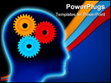 PowerPoint Template - Cogwheels ressembling to a human brain working