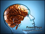 PowerPoint Template - Glass human head with brain ,this is a 3d render illustration
