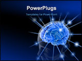 PowerPoint Template - The brain is being energized through the strings. The concept of intelligence.