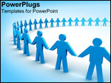 PowerPoint Template - Blue figures standing in a circle holding hands.