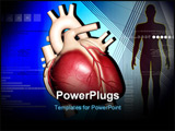 PowerPoint Template - Digital illustration of heart and human body in colour background