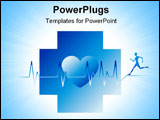 PowerPoint Template - Human running with a heart beat graph at background