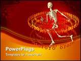 PowerPoint Template - d illustration of a ring of glowing orange binary digits orbiting around a human skeleton on a dark