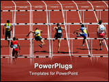 PowerPoint Template - Six lanes of men run over the hurdles in a race