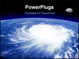 PowerPoint Template - iew from space of a giant hurricane over the ocean with moon in background. Photo montage with phot