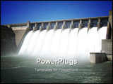 PowerPoint Template - Water pouring through flood gates of dam