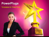 PowerPoint Template - Gold star award in red gloving background