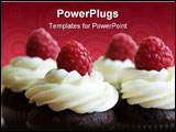 PowerPoint Template - Chocolate cupcakes decorated with fresh cream and raspberries
