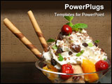 PowerPoint Template - bowl with ice cream and fruits on the wooden table