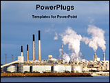 PowerPoint Template - view of a big industrial plant
