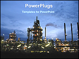 PowerPoint Template - night view of oil industry
