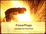 PowerPoint Template - a steel cutter inside the steel plant