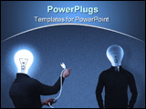 PowerPoint Template - hotoralistic conceptual illustration using photoshop software,two bulbhead man one man punish the o