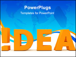 PowerPoint Template - orange word Idea with an exclamation mark replacing the letter i - front view