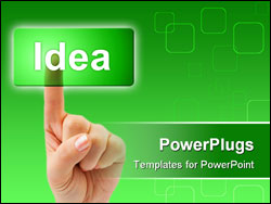 PowerPoint Template - Hand and button Idea isolated on white background