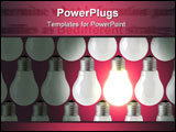 PowerPoint Template - composition of rows of lamp bulbs over red background. one of the lamps is on.
