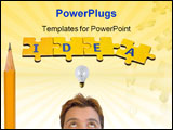 PowerPoint Template - the word idea built from the puzzle pieces with pencil.