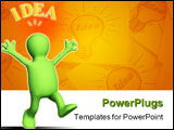 PowerPoint Template - Happy 3d puppet lit up by idea