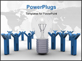 PowerPoint Template - haring a Successful Idea- 3D Concept Art -Portrays a group of people having success sharing an idea