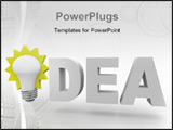 PowerPoint Template - The word Idea with an illuminated light bulb