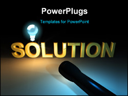 PowerPoint Template - Golden shiny solution word in darkness highlighted by flashlight