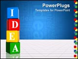 PowerPoint Template - 3d color boxes with white letters with text idea with reflection