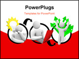 PowerPoint Template -  diagram of a person coming up with an idea working hard to implement it and enjoying the successfu