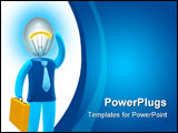 PowerPoint Template - Businessman with bulb head Concept of idea inspiration intelligence and invention