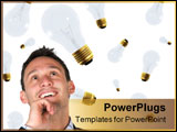 PowerPoint Template - creative business man smiling with lots of ideas on his head - over a white background